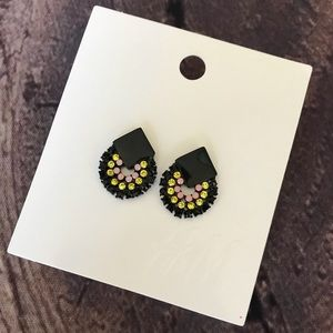 H&M Black Earrings Slidebacks Rhinestones New